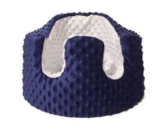 Navy Blue and White Minky Bumbo Seat Cover- Photography Prop