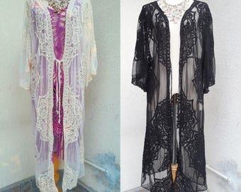 Bohemian long Lace Jacket/Boho Kimono Lace jacket/Romantic lace  Bikini cover up/Festival lace Ivory/Beach clothing/Resort wear.