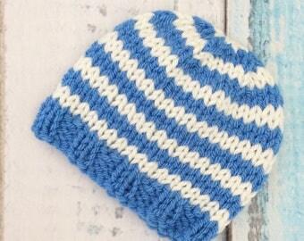 Newborn beanie hat boy stripey breton stripe blue cream newborn photo prop babyshower gift warm hand knit hat