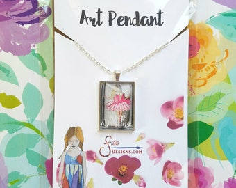 Keep Dancing Pendant Necklace of a miniature inspirational art print from original whimscial drawing of ballerina in pink. Unique gift.