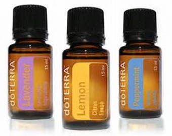 Essential Oil Trio, with Lavender, Peppermint and Lemon, 5 mL sizes