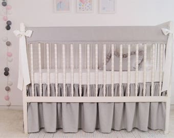 Gray crib bedding - rail cover, gender neutral crib bedding ,  rail guard, bumperless crib bedding, linen rail cover