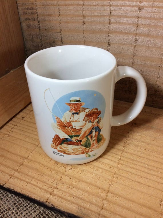 Catching The Big One by Norman Rockwell, Museum Collections 1987 mug, vintage mug by Norman Rockwell, fisherman gift, fish fan, trout fan