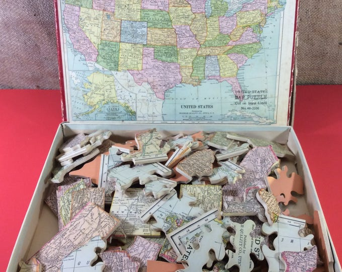 Vintage puzzle map published by Madmar Quality Company Utica New York, Puzzle map copyright 1926, wooden puzzle map, collectible maps
