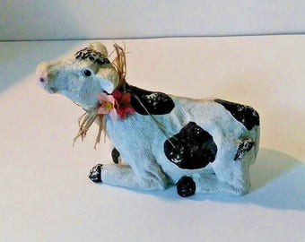 Vintage Black and White Holstein Cow figurine ceramic heavy weight distressed paint good condition farm animal