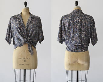 Micro Floral Blouse / 1990s silk oversized top / vintage floral print blouse