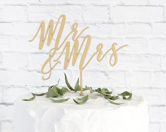 Mr and Mrs Cake Topper, Wedding Cake Topper, Cake Topper for Wedding, Rustic Wedding Cake Topper, Gold Cake Topper