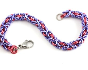 Byzantine Chainmaille Bracelet | Hand Crafted Chainmaille Jewelry | Handmade Bracelet | Pink and Purple | Anodized Aluminum