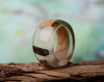 wide wood ring resin, Wooden Wedding Jewelry, Boho Ring, gift for her, size 7 3/4