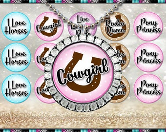 """Cowgirl Inspired 2017, Horse, Pony, Princess, Rodeo - INSTANT DIGITAL DOWNLOAD - 1"""" Bottlecap Craft Images (4x6) Digital Collage Sheet"""