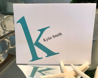Fun Personalized Note Cards, Set of 10, 2 Sizes, Chose Font Color, Multiple Order Discount
