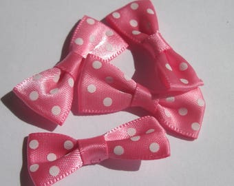 4 nodes colored polka-dot fabric satin 34 mm approx (A14)