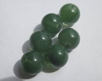 6 green glass transparent (PV8-52) 10 mm round beads