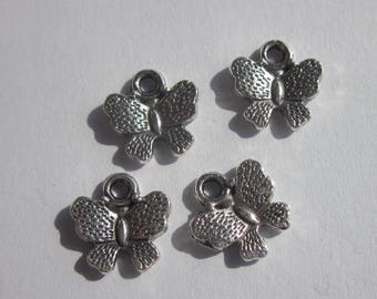 4 12mm (74) silver Butterfly charms