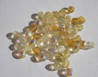 50 faceted beads in yellow and amber 4mm Bohemian glass (PV26-18