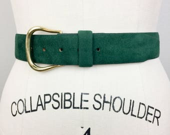 Vintage HALSTON Green Ultra Suede and Leather Designer Belt