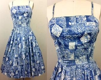 Vintage 50s Blue Floral Novelty Print Dress Sundress