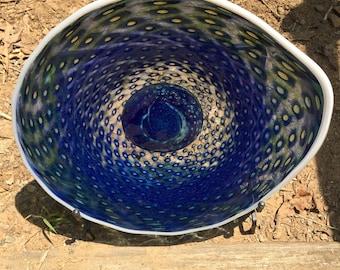 Hand Blown Glass Earth Platter