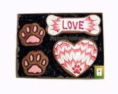 Valentine decorated dog treats