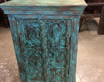 Antique Distressed Blue Side Table, Nightstand, Bar Cabinet, Furniture, Accent Tables, Blue Cabinet Moroccan Decor FREE SHIP