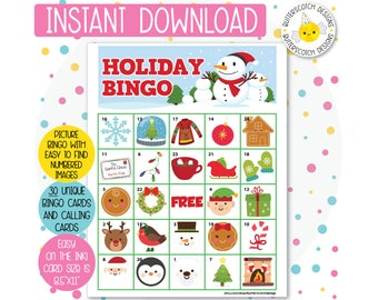 Holiday / Christmas Printable Bingo Cards (30 Different Cards) - Instant Download