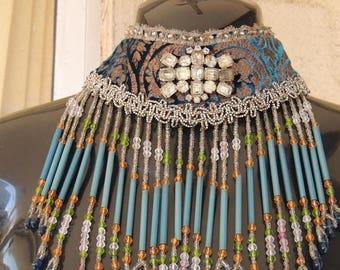 SALE Vintage Stunning  Handmade OOAK  Egyptian Revival  Beaded Fringe Trim Burlesque Deco Gatsby Flapper 1920s Collar Choker Necklace