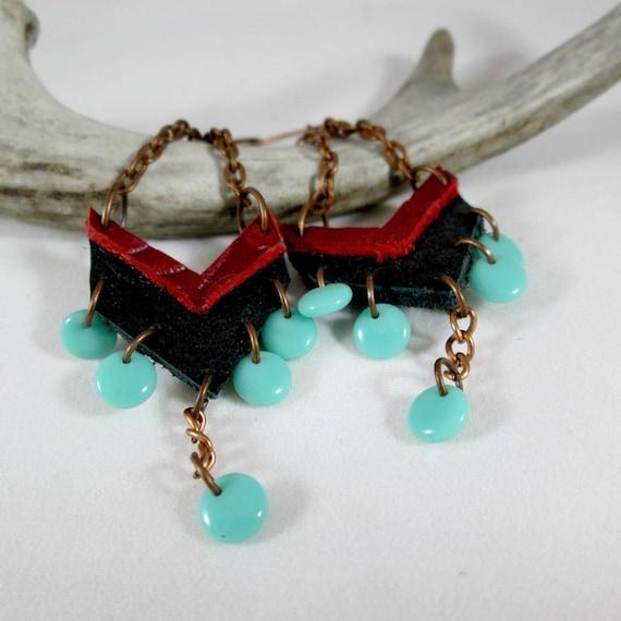 Black Leather Chevron Earrings