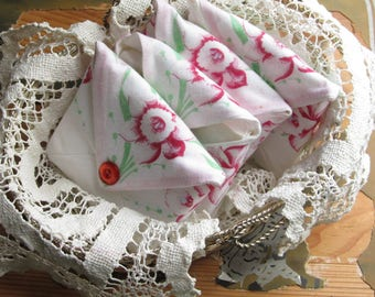 Baby Shower Hostess Gift, Scented Drawer Pouch, Sachet From Vintage Hanky,  Car Deodorizer