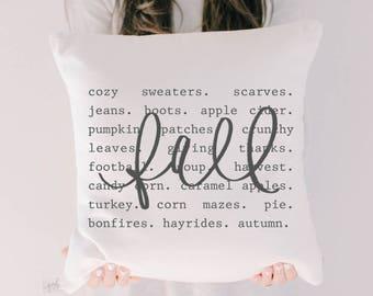 Throw Pillow - Fall Things, calligraphy, home decor, fall decor, housewarming gift, cushion cover, throw pillow, seasonal pillow