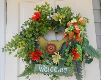 welcome wreath bird  vine wood bird front door back door wall wreath burlap orange and yellow green fun wreath grapevine wreath bird decor