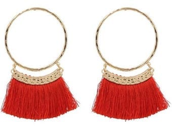 Large orange fringe earring