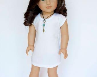 American Girl Doll sized T shirt dress - white