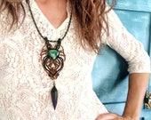 Malachite macrame necklace, cruelty free feather, brass beads, urban style, Khaleesi, Game of Thrones