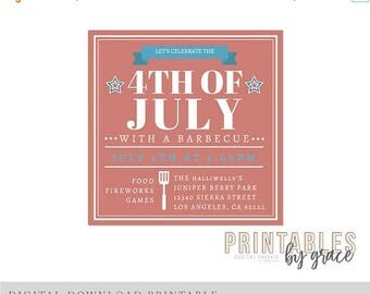 ON SALE DIGITAL Invitation custom 4th of July Independence Day Fireworks fourth Pdf invite printable download Party