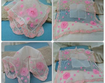 Antique Lacy Bride Handkerchief French Tulle Hand Embroidered Pink Flowers  #sophieladydeparis