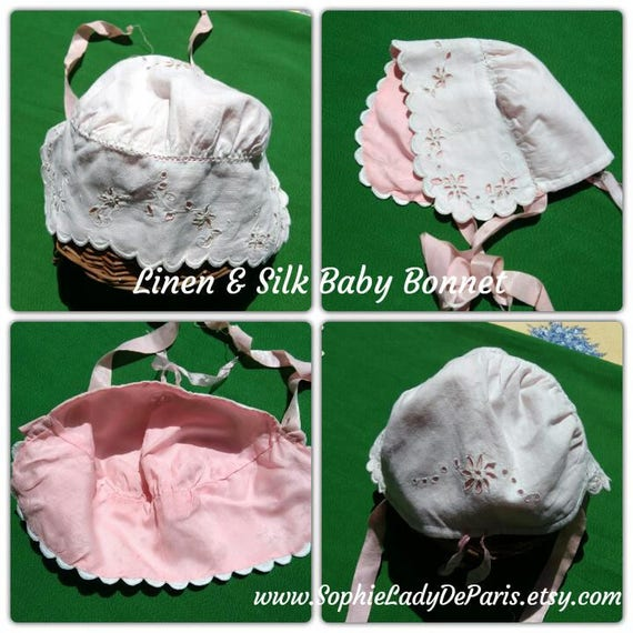 Victorian Baby Bonnet White Linen and Pink Silk  Antique French Baby Hat #sophieladydeparis