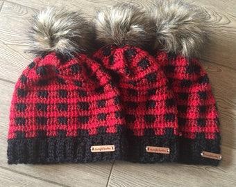 Crochet Buffalo Plaid Beanie with faux fur pom - red/black/wine - women's