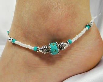 Anklet Ankle Bracelet Blue Anklet Turquoise Anklet Southwest Anklet Beach Anklet Beach Jewelry Beaded Anklet Turquoise Jewelry Silver Anklet