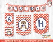 Teddy Bear Picnic Banner - Printable Teddy Bear Party Banner - Happy Birthday Banner - Red - Instant Download & Edit in Adobe Reader TB11