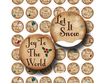 SALE- Christmas Songs - Digital Collage Sheet  - 1 inch Round Circles - INSTANT DOWNLOAD