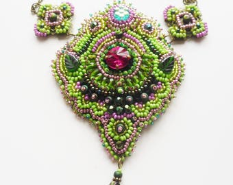 Bollywood bead embroidered necklace in green and pink
