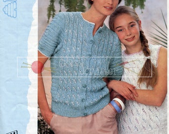 Teen Lady Top Cardigan 30-40in DK Patons 7453 Vintage Knitting Pattern PDF instant download