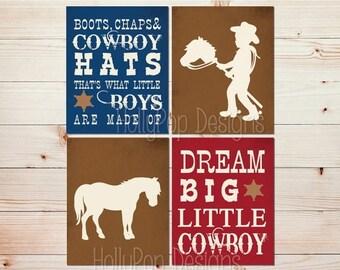 Dream big little cowboy Boots Chaps and Cowboy hats Boy nursery art Baby boy wall decor Cowboy nursery art Horse nursery print boy art #1528