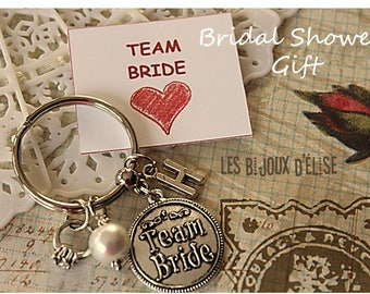 Team Bride Keychain Personalized Bride Keyring Bridal Shower Keychain Gift (KC49)