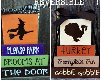 Reversible Halloween and Thanksgiving wood blocks---Park broom at door reverses with Turkey, Pumpkin pie, Gobble Gobble