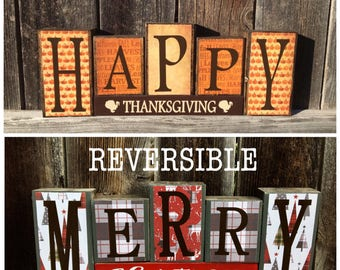 SALE--Reversible Thanksgiving and Christmas blocks--Happy Thanksgiving reverses with Merry Christmas-gray and red blocks