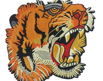 Embroidered BIG Tiger Head Animal Patch Applique, Tiger Patch Applique for Sewing and Fashion