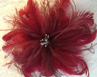 Red Wine Burgandy Feather Fascinator Hair Clip Accessory Handmade in the USA