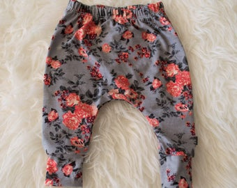 0-3 month coral and grey floral harem pants by little lapsi. ready to ship