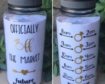 Officially off the market motivational water bottle with hourly time tracker
